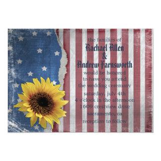 Estrellas y invitaciones patrióticas del boda de invitación 12,7 x 17,8 cm