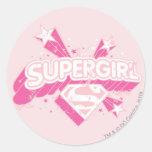 Estrellas y logotipo de Supergirl Etiquetas Redondas