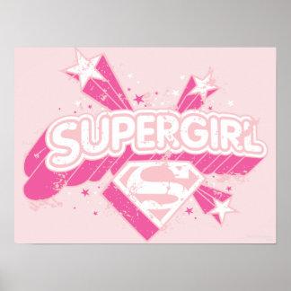 Estrellas y logotipo de Supergirl Poster