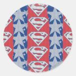 Estrellas y logotipo del superhombre pegatina redonda
