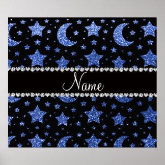 Estrellas y lunas azules conocidas de encargo del  posters