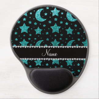 Estrellas y lunas azules del brillo del huevo cono alfombrillas con gel