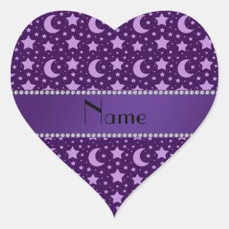 Estrellas y lunas conocidas personalizadas de la p calcomanías corazones personalizadas
