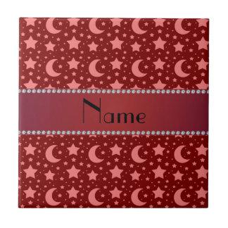 Estrellas y lunas conocidas personalizadas del roj azulejos ceramicos