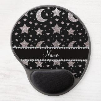 Estrellas y lunas de plata conocidas de encargo de alfombrillas de raton con gel