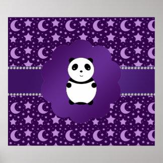 Estrellas y lunas lindas de la púrpura de la panda posters