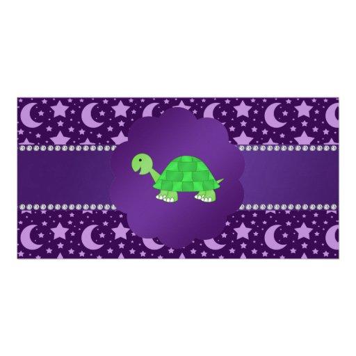 Estrellas y lunas lindas de la púrpura de la tarjetas fotográficas personalizadas