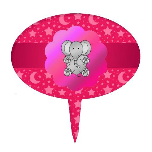 Estrellas y lunas lindas del rosa del elefante figura de tarta