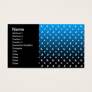 Estrellas y lunas minúsculas del blanco en azul tarjetas de visita