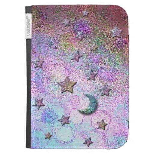 Estrellas y lunas pintadas metálicas en colores pa