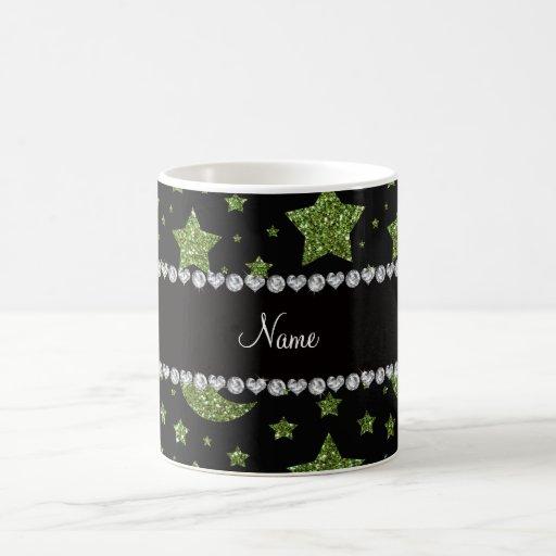 Estrellas y lunas verdes claras conocidas de encar taza de café