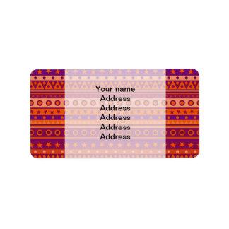 Estrellas y modelo rayados púrpuras y anaranjados etiqueta de dirección
