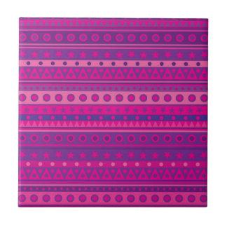 Estrellas y modelo rayados púrpuras y rosados de azulejo cuadrado pequeño