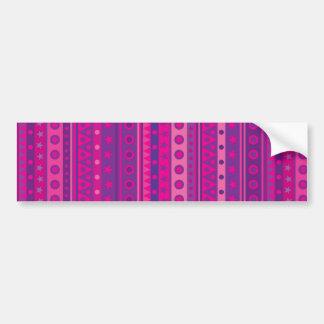 Estrellas y modelo rayados púrpuras y rosados de l etiqueta de parachoque