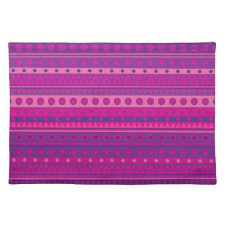 Estrellas y modelo rayados púrpuras y rosados de l mantel individual