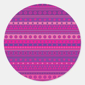 Estrellas y modelo rayados púrpuras y rosados de pegatinas redondas