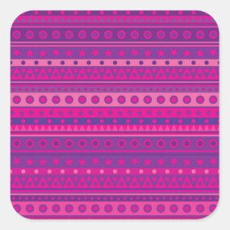 Estrellas y modelo rayados púrpuras y rosados de calcomanía cuadradas personalizadas