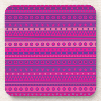 Estrellas y modelo rayados púrpuras y rosados de posavasos de bebidas