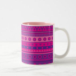Estrellas y modelo rayados púrpuras y rosados de taza de dos tonos