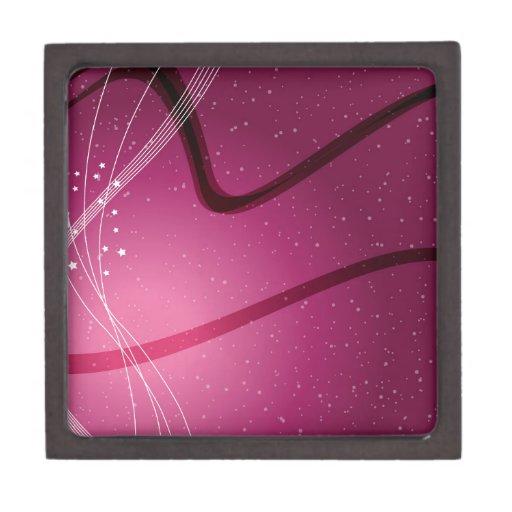 Estrellas y ondas de la púrpura caja de recuerdo de calidad