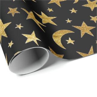 Estrellas y papel de embalaje de oro elegantes de papel de regalo