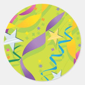Estrellas y pegatinas del fiesta de las flámulas etiqueta redonda