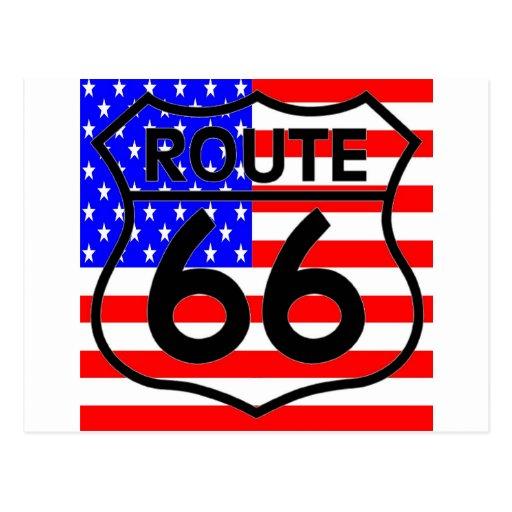 Estrellas y rayas 2 del escudo de la ruta 66 de la tarjetas postales