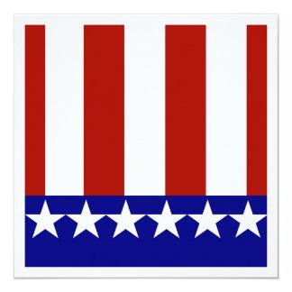 """Estrellas y rayas de blanco y azul rojos invitación 5.25"""" x 5.25"""""""