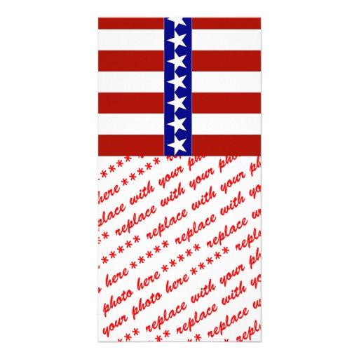 Estrellas y rayas de blanco y azul rojos tarjeta fotográfica
