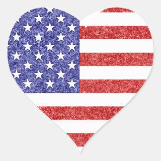 Estrellas y rayas de la bandera del corazón de los pegatina en forma de corazón