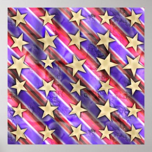 Estrellas y rayas de la bandera posters