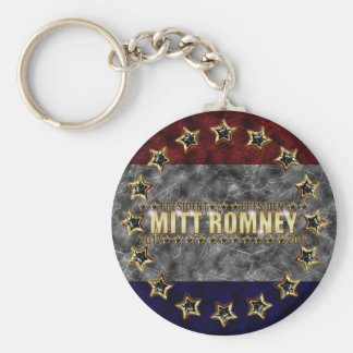 Estrellas y rayas de Mitt Romney Llavero Redondo Tipo Pin
