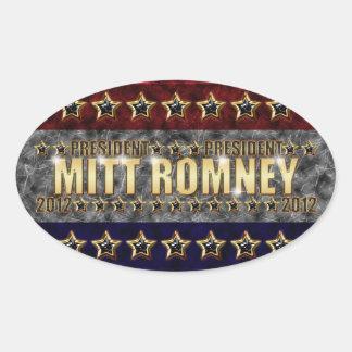 Estrellas y rayas de Mitt Romney Calcomanía De Óval Personalizadas