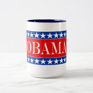 Estrellas y rayas de Obama Taza Dos Tonos