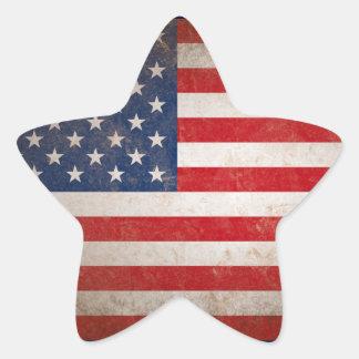 Estrellas y rayas patrióticas del vintage de la pegatina en forma de estrella
