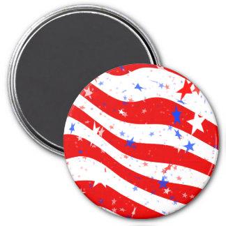 Estrellas y rayas rojas, blancas, y azules patriót imán redondo 7 cm