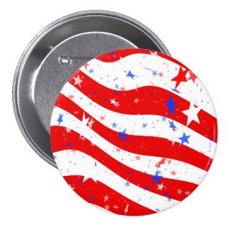 Estrellas y rayas rojas, blancas, y azules patriót pin redondo de 3 pulgadas