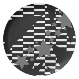 Estrellas y rectángulos en blanco gris y negro platos