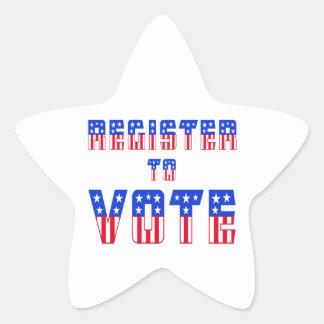 Estrellas y registro de las rayas al voto pegatina en forma de estrella