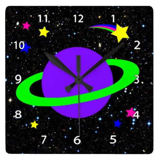 Estrellas y reloj de pared del planeta