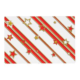 Estrellas y rojo del oro del modelo de las rayas + tapete individual