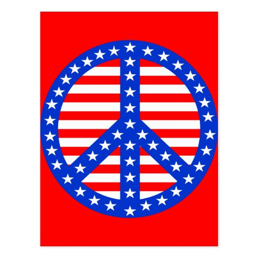 Estrellas y signo de la paz de las rayas postal