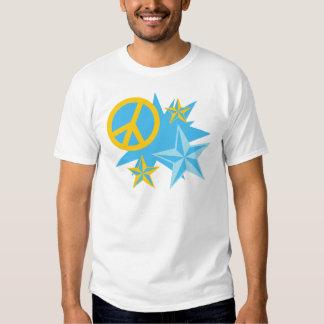 Estrellas y signo de la paz playera