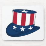 Estrellas y sombrero de copa Mousepad de las rayas Alfombrilla De Ratón