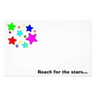 Estrellas y texto coloridos del dibujo animado papelería