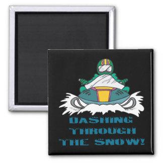Estrellazo a través de la nieve 3 imán de nevera