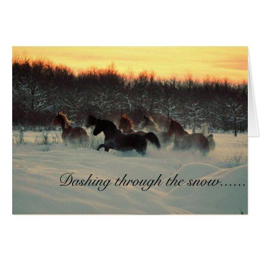 Estrellazo a través de la nieve tarjeta de felicitación