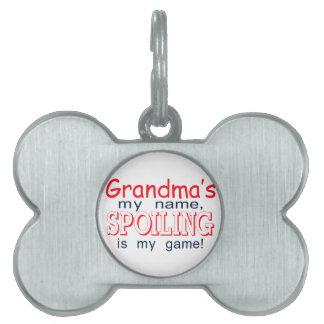 Estropeo de la abuela placa de mascota