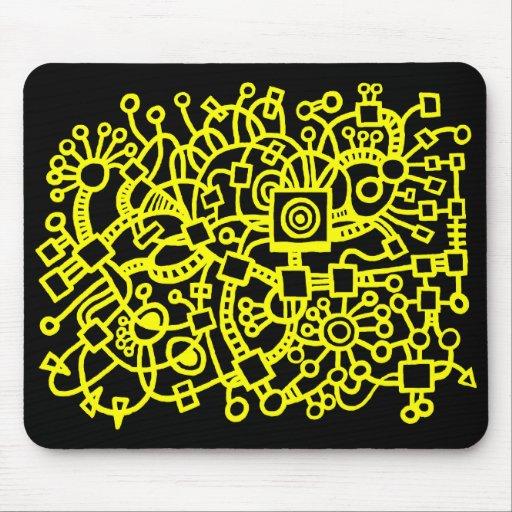 Estructura abstracta - amarillo en negro alfombrillas de raton