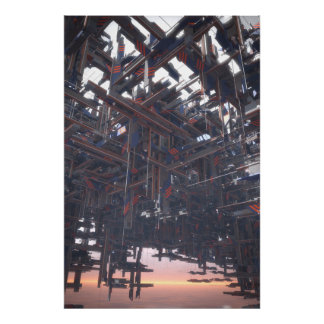 Estructura abstracta que flota en un cielo extranj póster